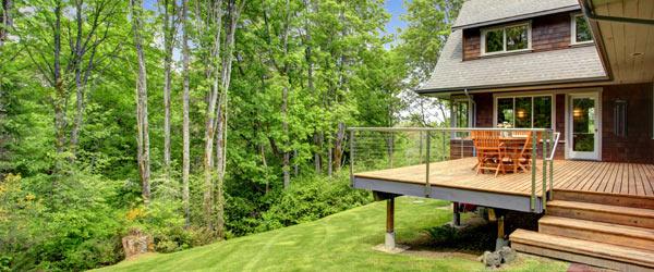 terrasse en bois sur pilotis acier
